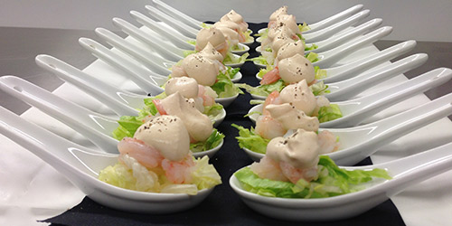 Verve real food catering weddings special events for Mini prawn cocktail canape