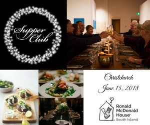 Collage of six images including supper club logo and pictures of gourmet food plated up and eight people dining and drinking wine in a contemporary setting