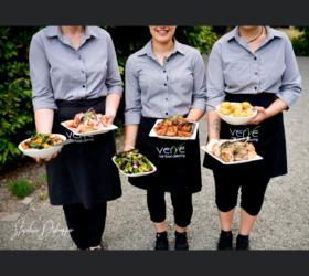 3 waitstaff serving shared platter mains Hemsworth estate