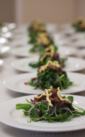 lamb and noodle salad plated entree wedding catering