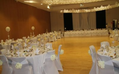 wedding tables set up at Lincoln events centre