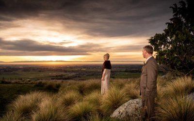 wedding couple sunset Waipuna estate
